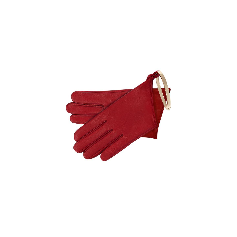 """Das wird ein schmucker Winter: Das Hamburger Schmucklabel So Cosi hat gemeinsam mit der Traditionsaccessoire-Marke Roeckl eine kleine, aber feine Kollektion herausgebracht. Unser Favorit? Das Modell""""True Elegance"""" in knalligem Rot mit einem filigranen Armreifen, der auch ohne den Handschuh getragen werden kann. Ca. 199 Euro."""