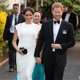 Tag 10  Strahlender Auftritt von Herzogin Meghan und Prinz Harry am Abend beim Empfang und Dinner im Consular Haus in Tonga.