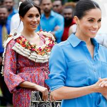 Herzogin Meghan präsentiert ihren Babybauch in stylischen Outfits. Er scheint jedes Mal eine andere Größe zu haben
