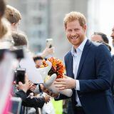 Tag 14  Auch Prinz Harry freut sich über kreative Geschenke der Neuseeländer.
