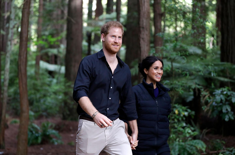 Tag 15  Das royale Ehepaar zeigt sich begeistert von hohen Mammutbäumen ...