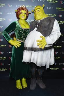 2018: Heidi Klum gibt in Sachen Verkleidung wieder alles. Sie und Tom Kaulitz erscheinen als Fiona und Shrek aus dem gleichnamigen Animationsfilm bei der Halloween-Party des Models in New York.