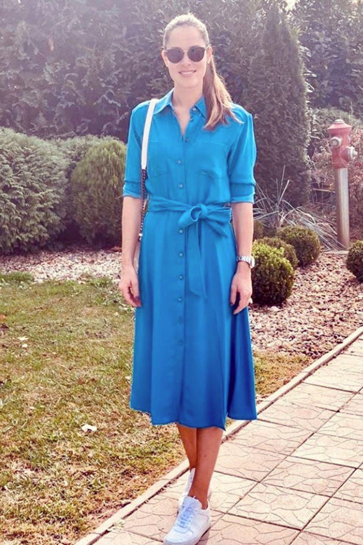 Denn auch Tennis-Star Ana Ivanovic macht in dem blauen Kleid eine gute Figur, oder finden Sie nicht?
