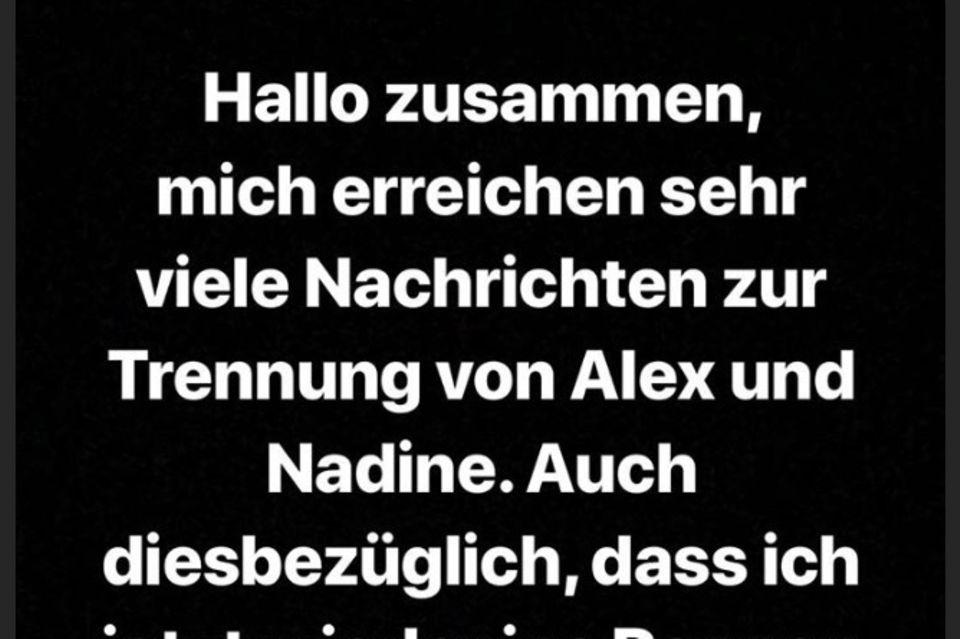 Mit diesen Worten äußert sich Daniel auf Instagram zu der Trennung von Alex und Nadine.
