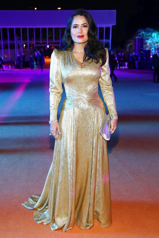Gucci-Fan in Gold: Salma Hayek darf bei der Gala nicht fehlen.