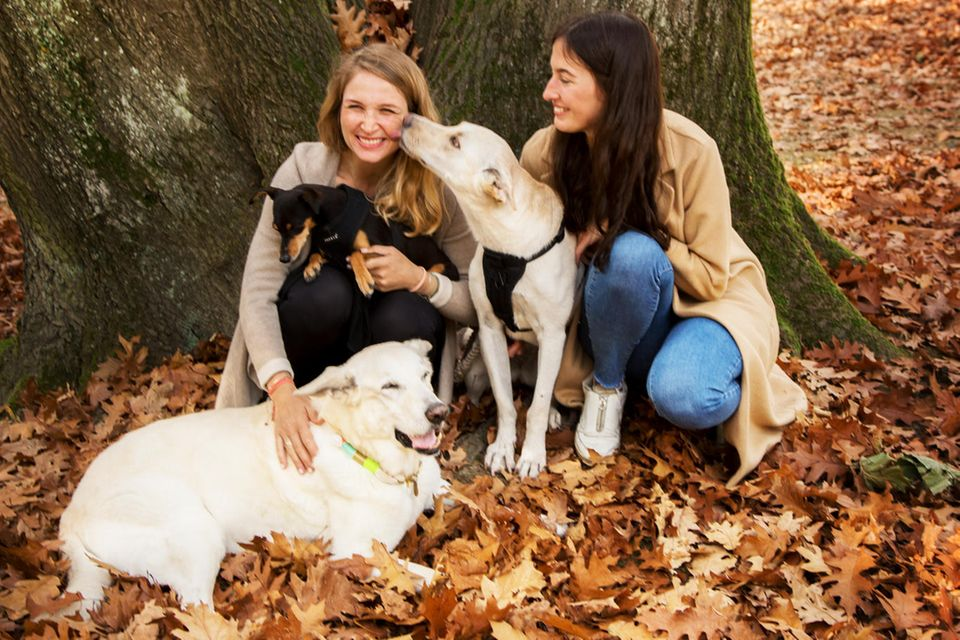 VEGDOG-Gründerinnen Tessa Zaune-Figlar und Valerie Henssen (v.l.) mit Hund Nelson