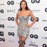 Model Irina Shayk hat richtig gute Laune und macht in ihrem Minikleid eine tolle Figur.