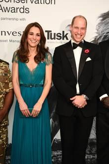 8. November 2018  Strahlender Auftritt von Herzogin Catherine und Prinz William bei den Tusk Conservation Awards in London.