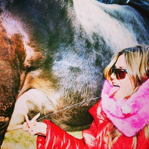 Die Milch macht's: Heidi Klum bei der Direkt-Verkostung in den Bergen.