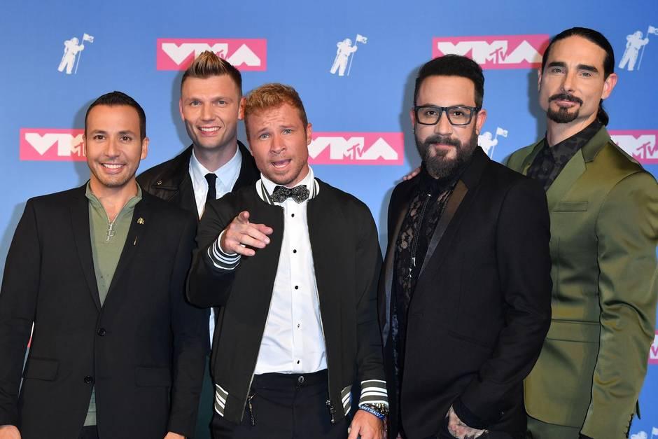 Die Backstreet Boys Howie Dorough, Nick Carter, Brian Littrell, AJ McLean und Kevin Richardson bei den MTV Music Awards 2018.