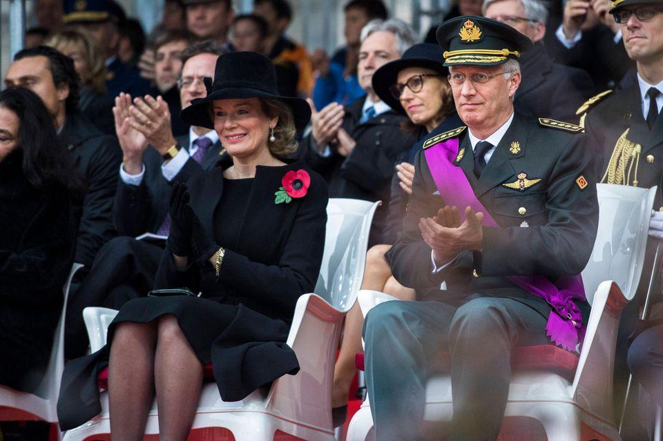 11. November 2018   Königin Mathilde undKönig Philippe bei der traditionellen Gedenkfeier des Waffenstillstands am Grab des Unbekannten Soldaten:Gedacht werden der Opfer der beiden Weltkriege, Friedensmissionen und humanitären Auftritten im Ausland seit 1945.