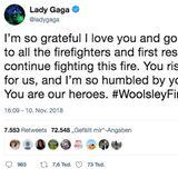 """""""Ich bin so dankbar, ich liebe euch. Gott segne alle Feuerwehrmänner und Ersthelfer, die beständig gegen das Feuer kämpfen. Ihr riskiert euer Leben für uns und ich bin so ergriffen von eurem Mut.Ihr seid unsere Helden"""", dankt sie den Feuerwehrmännern im Einsatz."""
