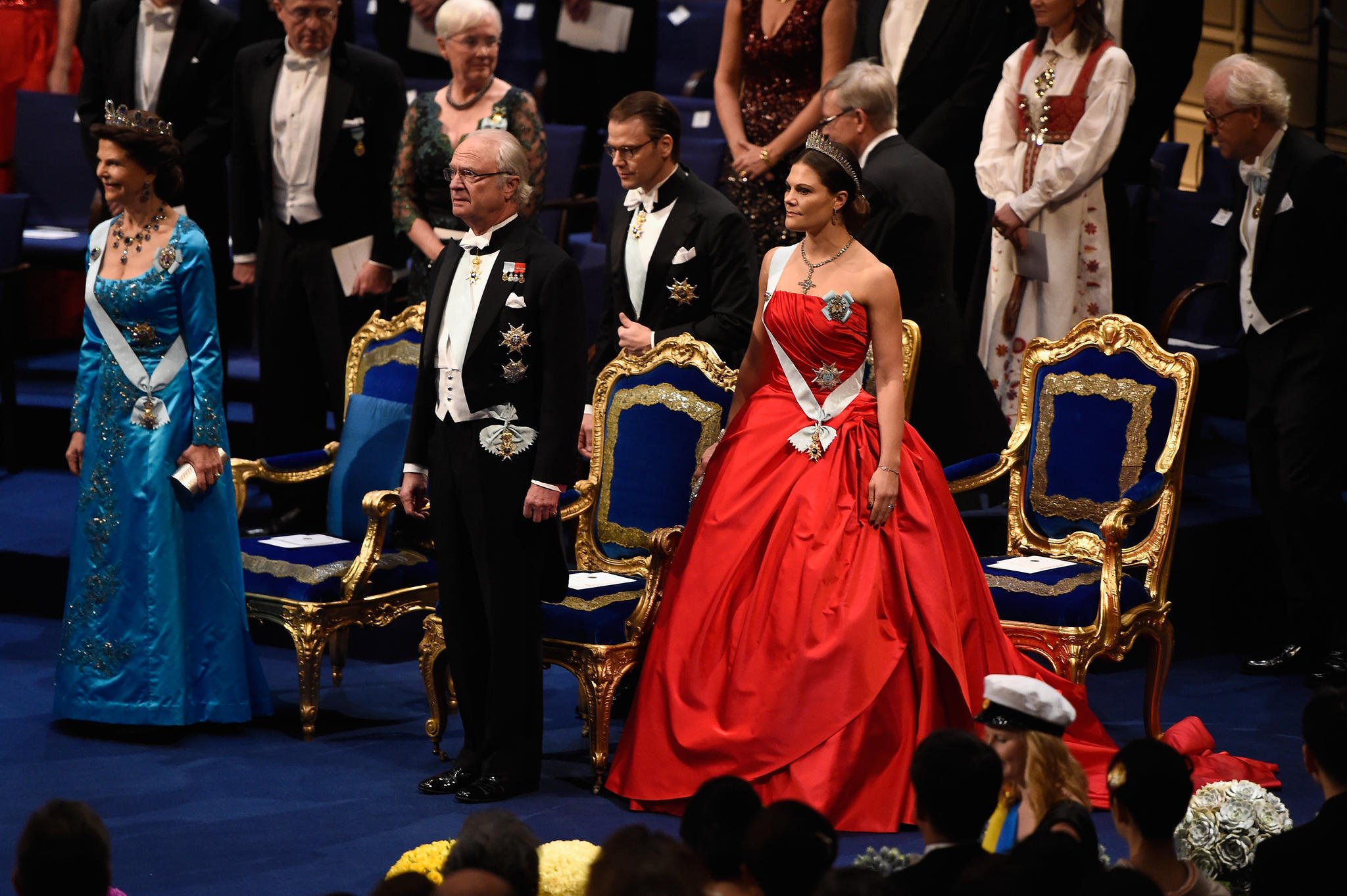 Die schwedischen Royals - Königin Silvia, König Carl Gustaf, Prinz Daniel und Prinzessin Victoria (v.l.n.r.)- sind verhindert