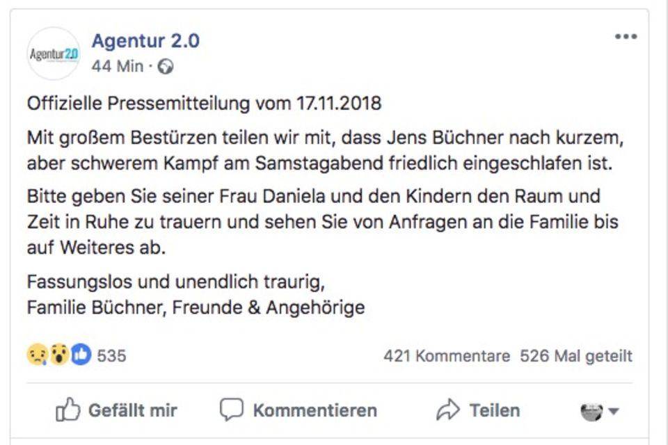 Der Facebook-Post der Agentur von Jens Büchner