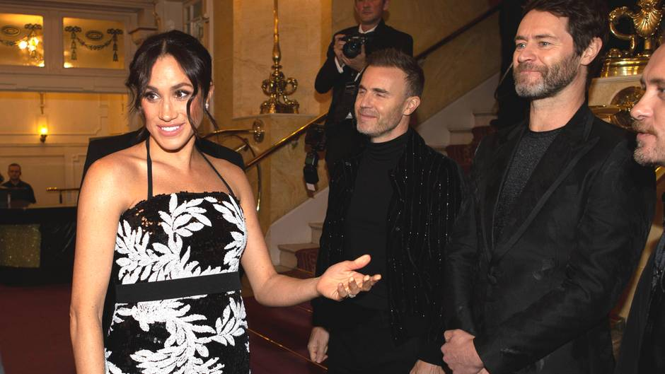 "Herzogin Meghan mit der Boyband ""Take That"""