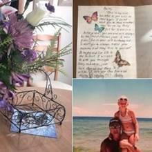 Bailey mit ihrem Vater und einem Geburtstagsstrauß, den er ihr nach seinem Tod zum Geburtstag schenkte