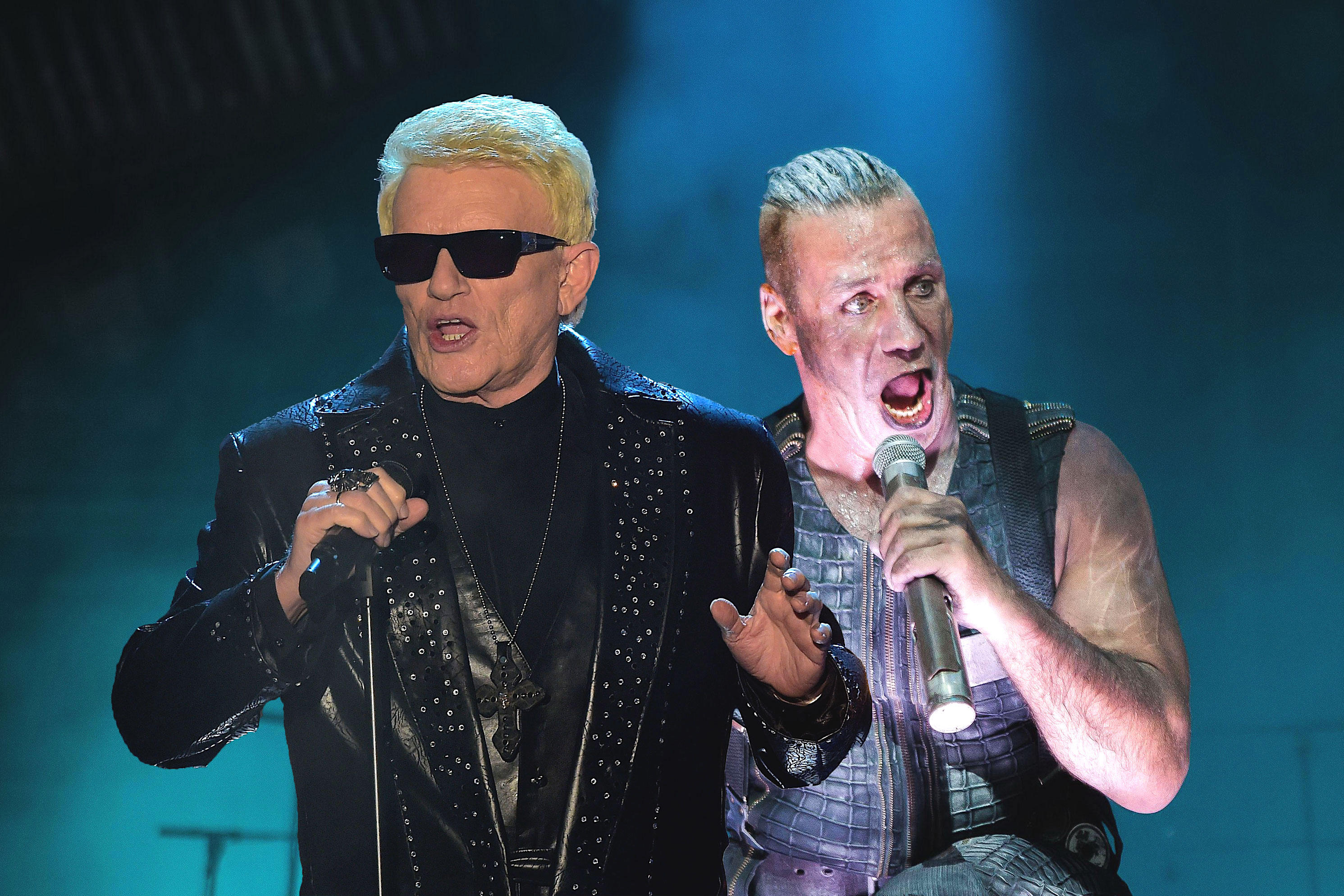 """Sänger Heino (l.) hat für sein Abschieds-Album den """"Rammstein""""-Hit """"Engel"""" gecovert. Die Plattenfirma um die Band von Till Lindemann (r.) hat die Veröffentlichung des Songs kurz vor Release-Datum untersagt."""