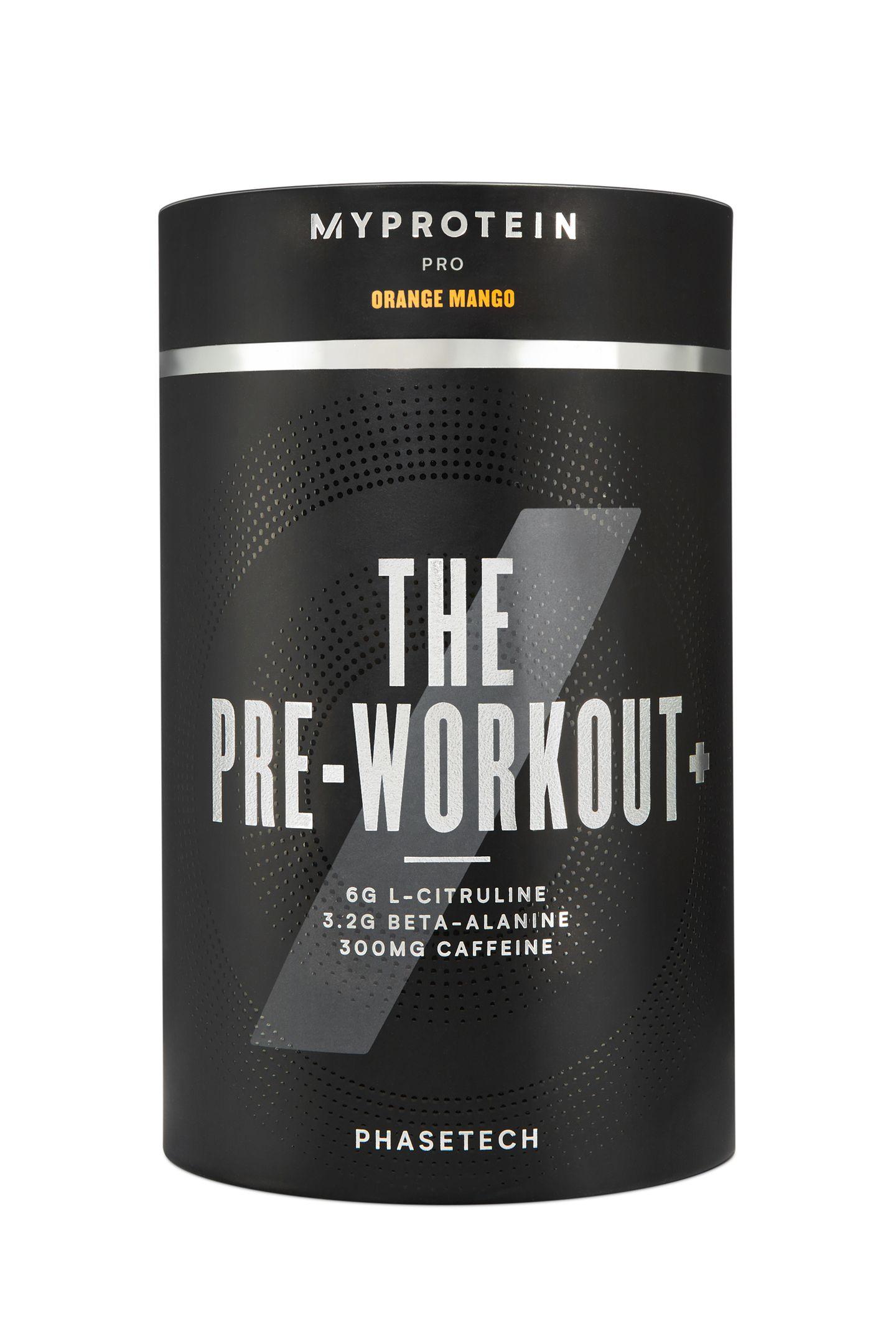 """Das """"THE Pre-Workout+"""" mit PhaseTech-Technolgie beschert jedem Sportler ein Mega-Training. Es wird vor dem Workout mit Wasser getrunken und hält anchließend die maximale Leistungsfähigkeit länger aufrecht.Von Myprotein, ca. 33 Euro"""