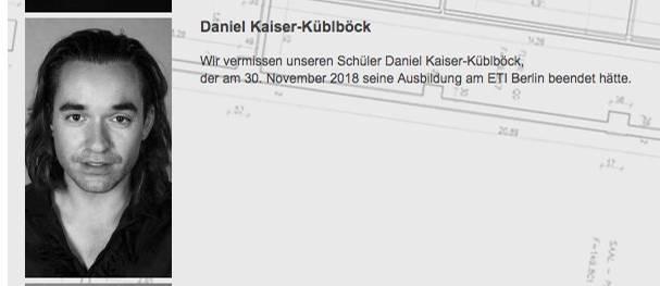 Die ETI Schauspielschule Berlin gedenkt auf ihrer Webseite des vermissten Daniel Küblböck.