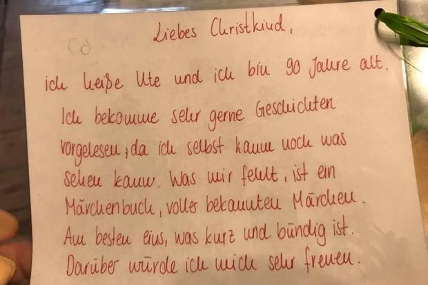 Brief von einer Seniorin an das Christkind