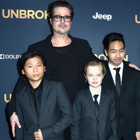 Brad Pitt mit seinen Kindern Pax, Shiloh und Maddox