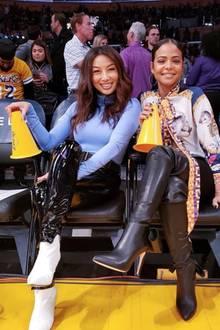 Und auch Sängerin Christina Milian und TV-Moderatorin Jeannie Mai machen nicht nur in der Frontrow von Fashionshows eine modische Figur, sondern auch in der ersten Reihebeim Basketballspiel. In Los Angeles feuern sie das weltbekannte Team der Lakers an. Ob das hilft?