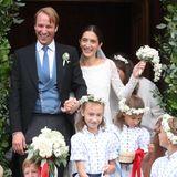 September 2018  Prinz Kostantin von Bayern gibt seiner Braut Deniz Kaya inder französischen Kirche Eglise au Bois in St. Moritz das Jawort.