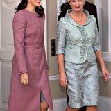 Anlässlich des 100. Jubiläums der Unabhängigkeit Lettlands besucht Prinzessin Mary, sehr elegant im perlenbesetzten Mantel-Dress, mit Prinz Frederik das Präsidentenpaar Iveta undRaimonds Vējonis in Riga.