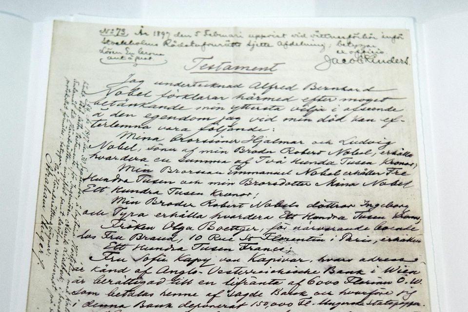 """Alfred Nobels Testament wurde 2015 im Zuge der Ausstellung """"Legacy"""" der Öffentlichkeit zugänglich gemacht."""