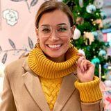 Jana Ina Zarella weiß: weniger ist mehr. Um ihr Gesicht nicht zu überladen, wählt die Brasilianerin ein minimalistischesBrillengestell im Retro-Look. Der Doppelsteg gibt dem Look den letzten Schliff.