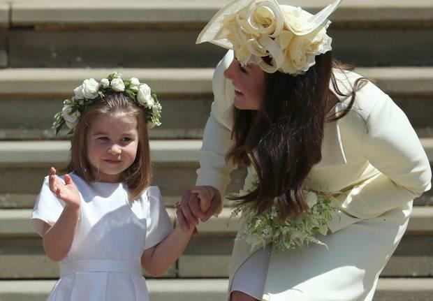 Herzogin Catherine mit Prinzessin Charlotte bei der Hochzeit von Prinz Harry und Herzogin Meghan