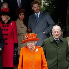 Queen Elizabeth, Prinz Philip, Prinz Charles, Herzogin Camilla, Herzogin Meghan, Prinz Harry