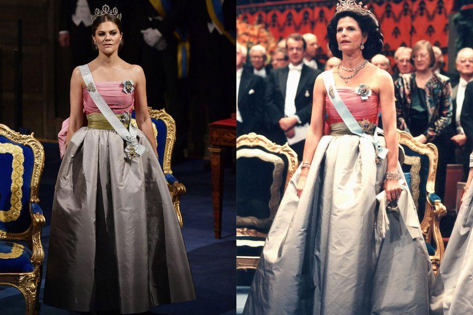 Beim Nobelpries 2018 überraschte Victoria mit ihrer Kleiderwahl: Sie verließ sich auf Königin Silvias Geschmack und wählte eine Robe aus dem Schrank ihrer Mutter.