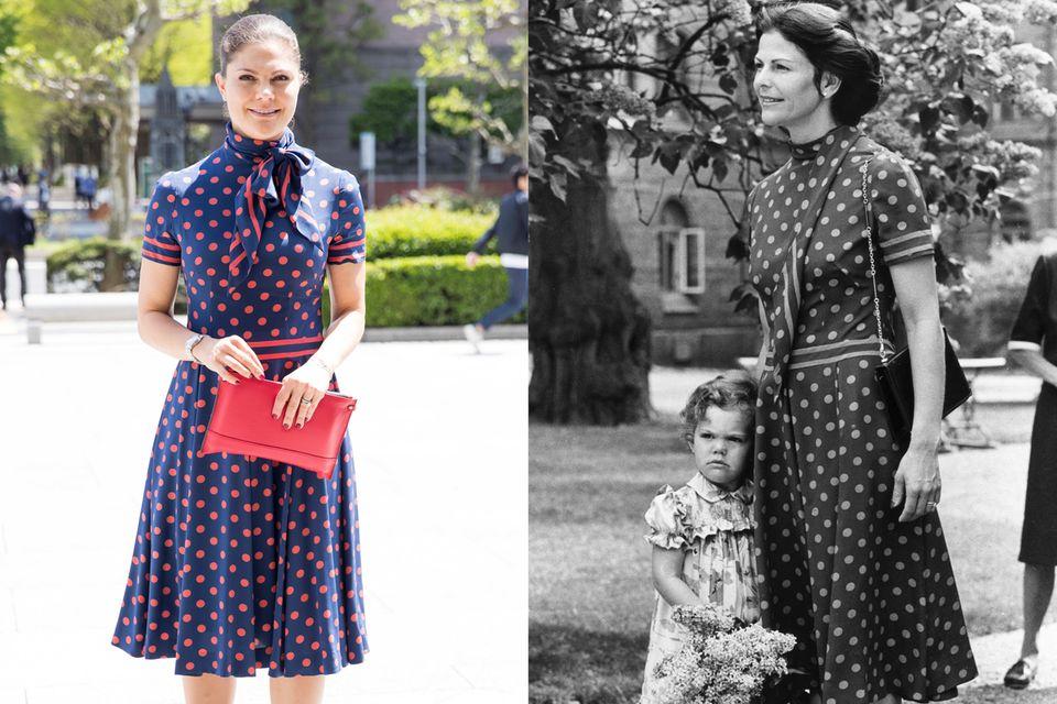Anlässlich des dritten Geburtstags von Prinzessin Victoria wählte Königin Silvia ein gepunktetes Kleid. Das besondere Dress trug Victoria vermutlich nur allzu gerne auf.