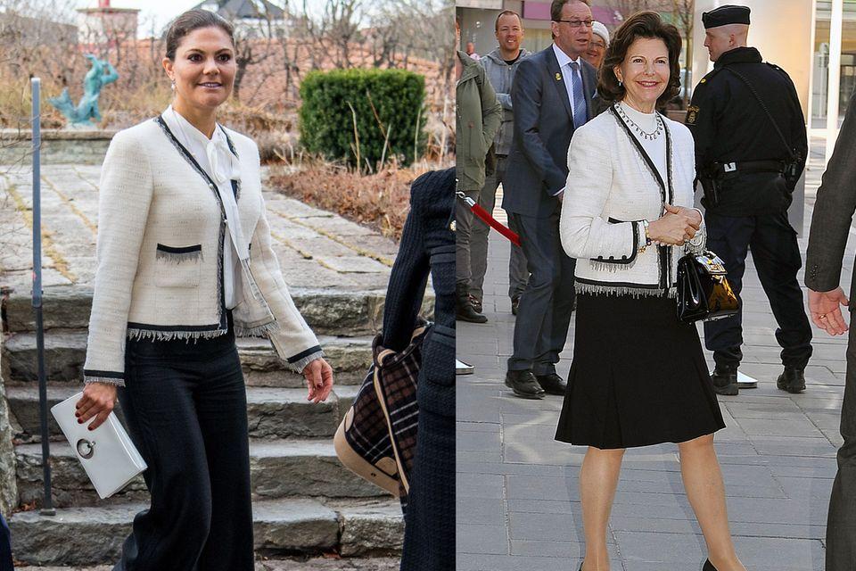 Gleiches Teil, unterschiedliche Kombinationen. Obwohl sich Prinzessin Victoria die Jacke ihrer Mutter ausborgte, kombiniert sie diese völlig anders und erschafft einen neuen Look.
