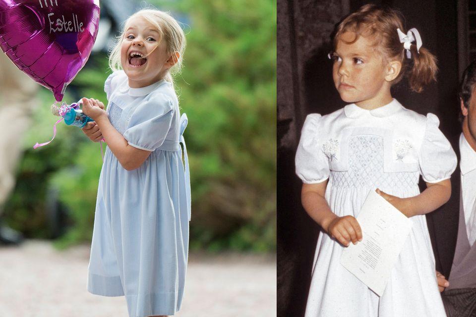 Auch Prinzessin Estelle kommt in den Genuss von aufbewahrter Kleidung. Die kleine Prinzessin trug im Juli 2016 ein Kleid von Mama Victoria. Und hat sichtlich Spaß damit: Sie posiert in dem hellblauen Kleidchen deutlich fröhlicher als ihre Mutter.