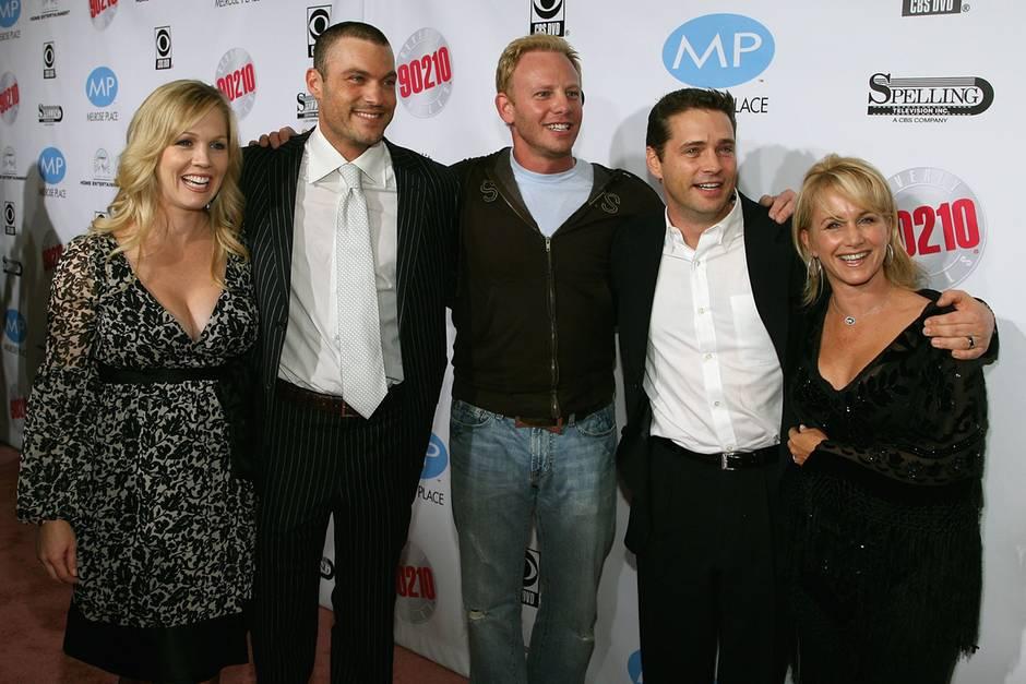 Jennie Garth,Brian Austin Green,Ian Ziering, Jason Priestley undGabrielle Carteris