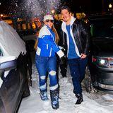 Alle in Deckung: Mariah Carey wirft einen Schneeball nach den Fotografen. Mit Freund Bryan Tanaka und ihren Kindern verbringt die Popdiva die Weihnachtstage in Aspen.