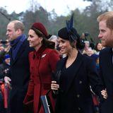 Auch wenn das Winterwetter ungemütlich ist, Prinz William, Herzogin Catherine, Herzogin Meghan und Prinz Harry strahlen.