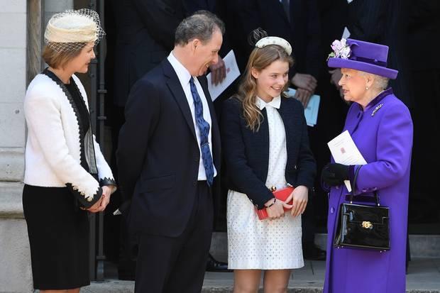 Serena und David Armstrong-Jones mit Tochter Margarita und der Queen im April 2017
