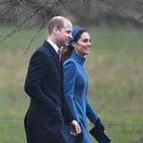 6. Januar 2019  Gut gelaunt machen sich Herzogin Catherine und Prinz William auf den Weg in die Kirche St. Mary Magdalene in Sandringham. Dort findet der Gottesdienst zumDreikönigstag statt.