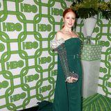 Barbara Meier setzt bei der Golden-Globe-Party von HBO mit ihrem waldgrünen Look einen schönen Kontrast zu ihrer Haarfarbe.