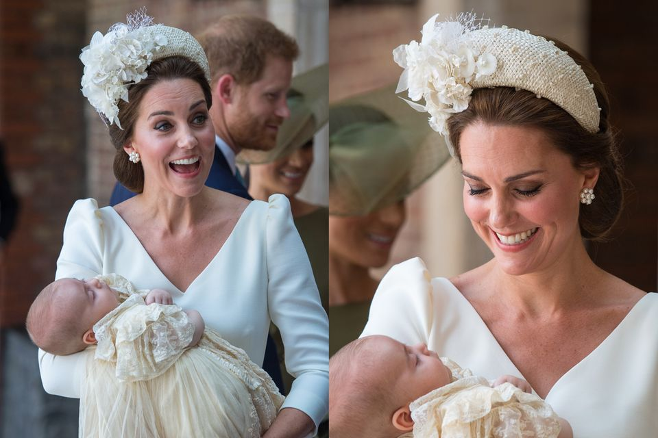 Zur Taufe von Prinz Louis trägt Herzogin Catherine einen aufwendig bestickten Haarreifen von Hutmacherin Jane Taylor.