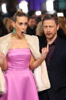 """9. Januar 2019  In London wird die Premiere des Films """"Glass"""" gefeiert. Die Crew-Mitglieder Sarah Paulson und James McAvoy schneiden bei ihrer Ankunft auf dem Red Carpet lustige Grimassen ..."""