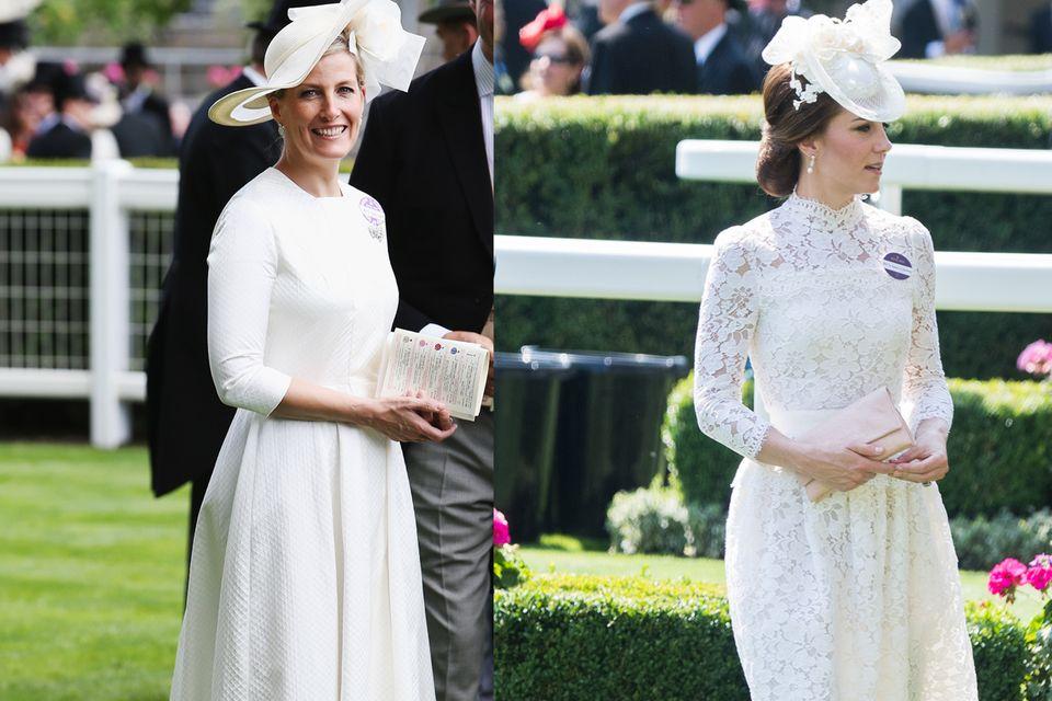 Beim Pferderennen in Ascot scheint der Dresscode klar: helle und sommerliche Kleider sind gefragt. Das beherzigen auch Gräfin Sophie und Herzogin Catherine.