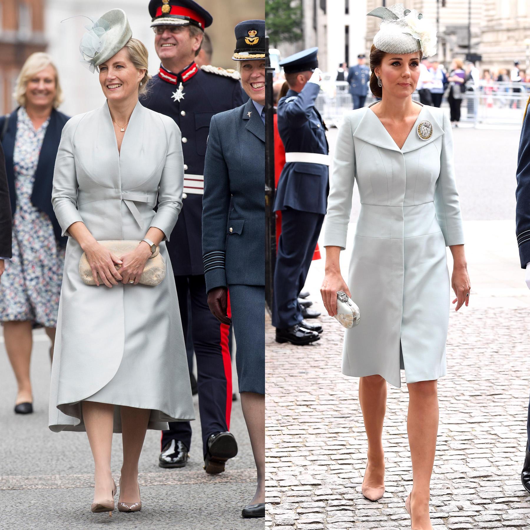 Auch die Farbe Hellblau steht den beiden royalen Damen ausgezeichnet - und scheint beiden besonders gut zu gefallen.