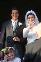 Prinz Edouard de Ligne de la Tremoille und Isabella Orsin bei ihrer Hochzeit am 5. September 2009 in Antoing, Belgien