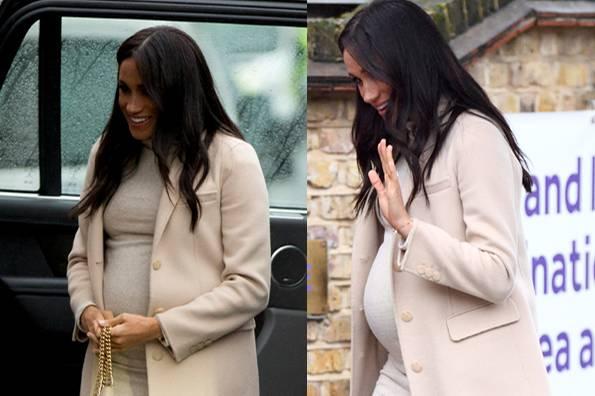 Herzogin Meghan am 16. Januar 2019 bei einem Termin in London. Auf dem linken Foto (Dana Press) und rechten Foto (Getty Images) wirkt der Babybauch unterschiedlich groß.
