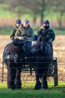 17. Dezember 2018  Die Winterpause in Sandringham verbringt ein sichtlich entspannter Prinz Philip mit Kutschfahrten durchs Gelände.