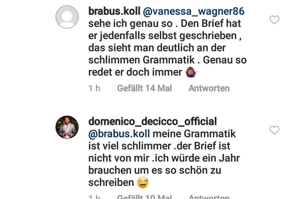 Domenico de Cicco stellt klar: Der Instagram-Brief stammt von Julia